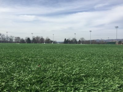 a close up of the synthetic turf fields