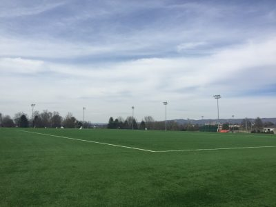 a wide view of the synthetic turf fields