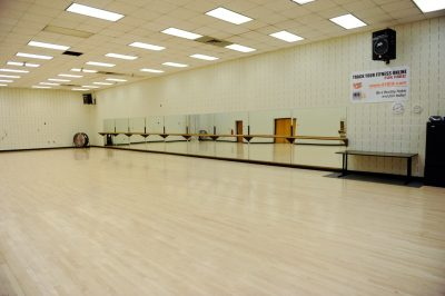 the empty dance room where group exercise classes happen in War Memorial
