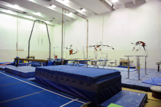 The building houses a gymnastics room that is used for youth and adult lessons as well as open gym hours.