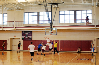Three courts allows for basketball and volleyball pick up games.