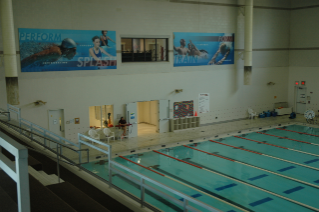 A 25-yard pool provides space for lap swim and swim lessons for children and adults.